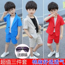 夏季男童西装套装短袖三件套帅气宝宝潮流小绅士花童礼服儿童西服图片
