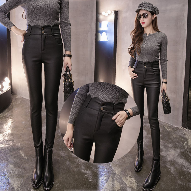 Spring 2020 new womens clothing with plush, versatile, thin coated leather pants, underpants and Leggings