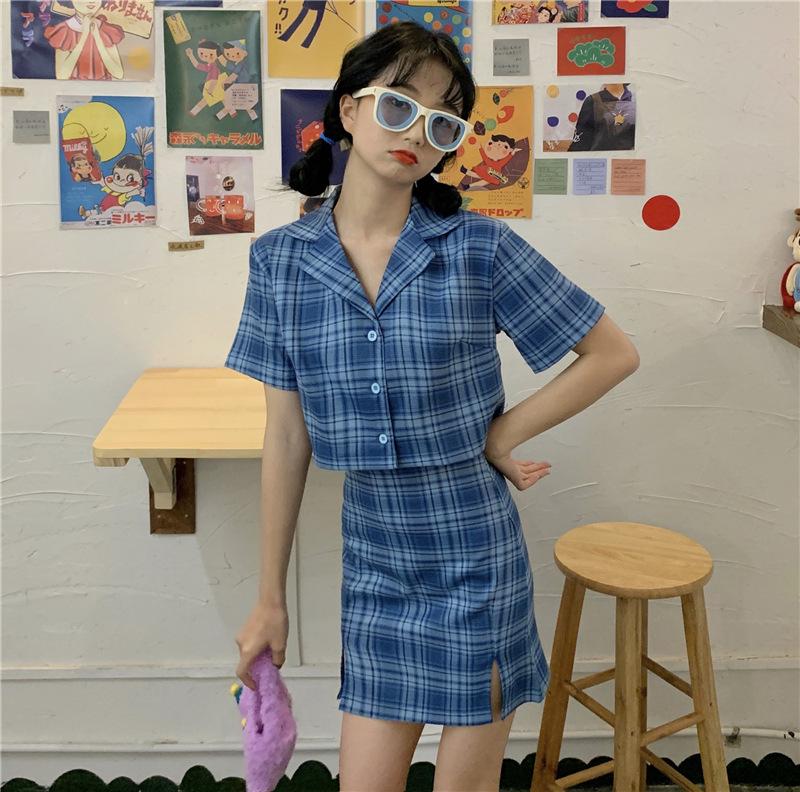 2021 summer plaid skirt BM Polo Shirt Top simple two piece set