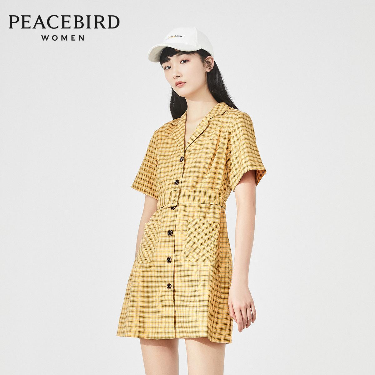 太平鸟格纹连衣裙女2020夏季新款v领高腰休闲polo连衣裙A1FA92877