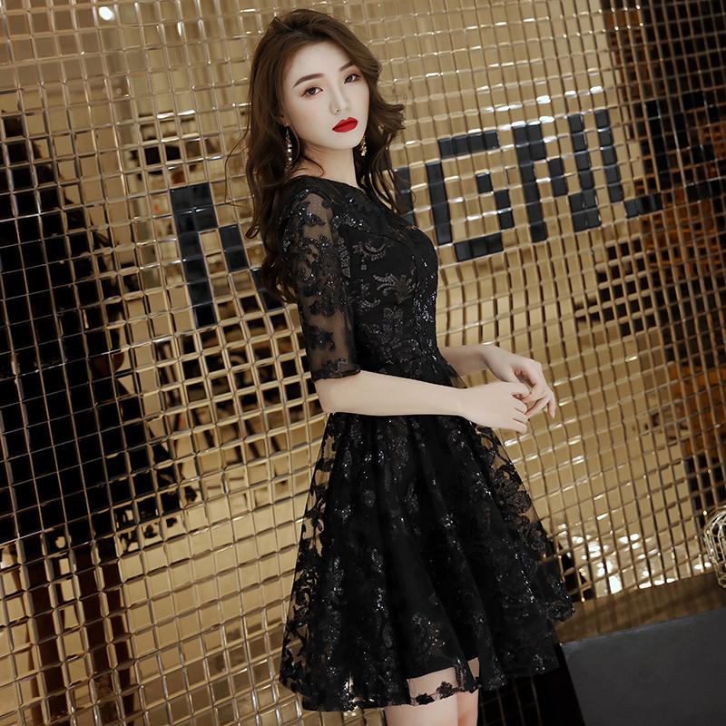 年会黑色小晚礼服裙女平时可穿宴会气场女王气质短款法式高端显瘦