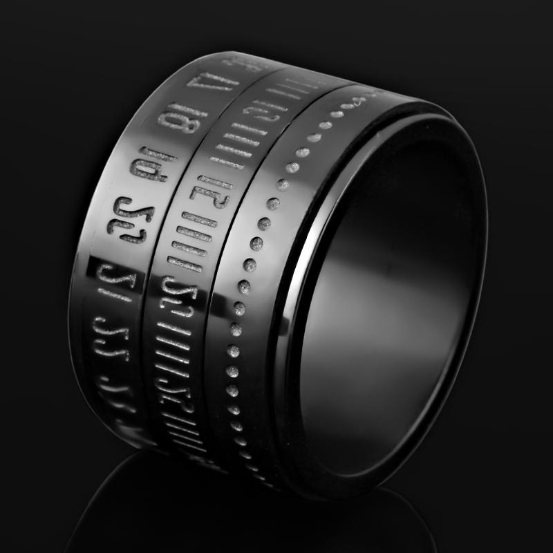 时间戒指男士钛钢韩版个性潮男生单身戒子食指指环可转动挂脖子