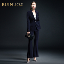 Reno high end formal women's suit 2019 new fashion temperament Navy Blue professional decoration body smart ol suit