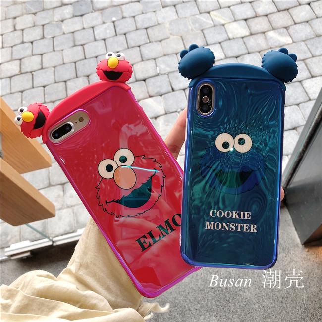 全包8p卡通蓝光情侣7plusiphone8手机壳6spX立体耳朵芝麻街苹果