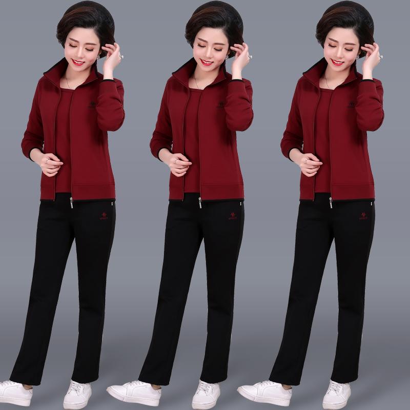 中老年女装运动套装女2018新款40-50岁中年外套妈妈装秋装两件套