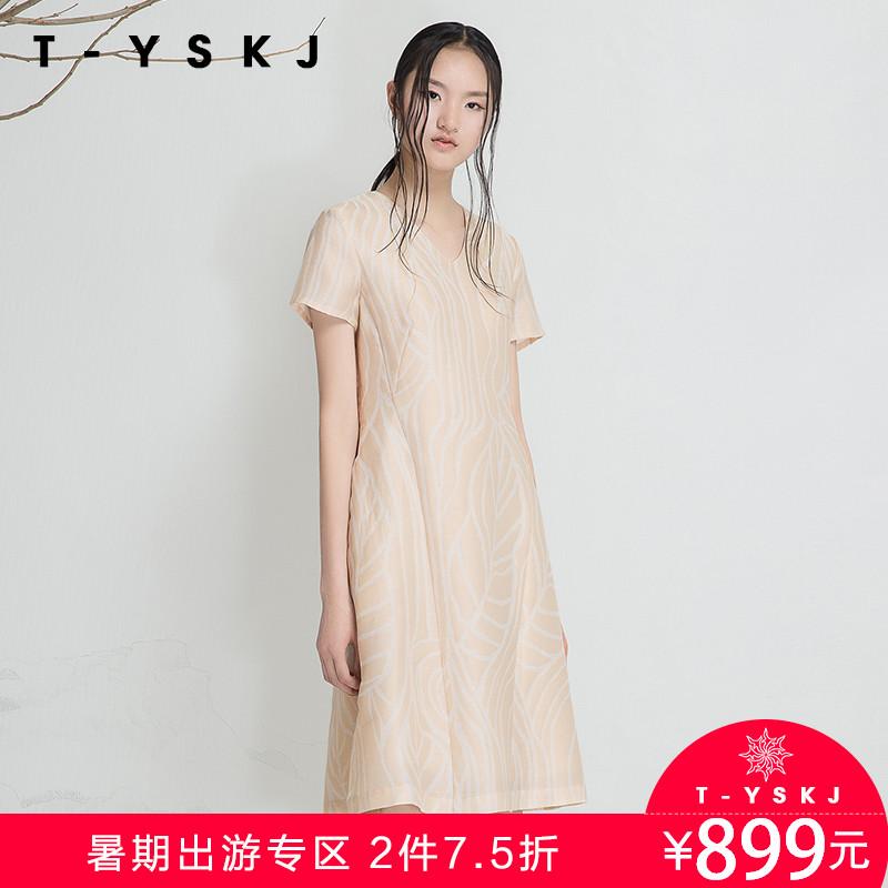 台绣TYSKJ 2018年夏装 时尚提花修身V领高腰中长款连衣裙 F20265