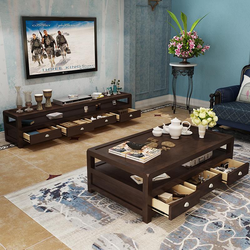 Американский дерево кофейный столик простой прекрасный страна гостиная ретро кофейный столик телевизионный шкаф сторона угловой мебель сочетание