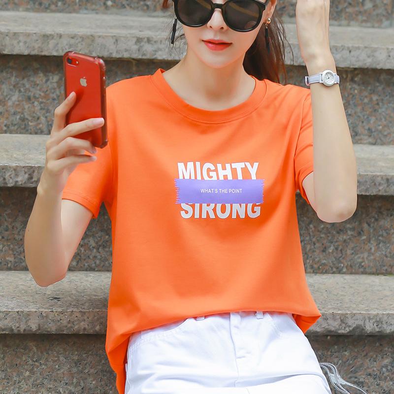 100%纯棉T恤女夏装2019新款韩版百搭橙色短袖女时尚上衣宽松大码满38.00元可用1元优惠券