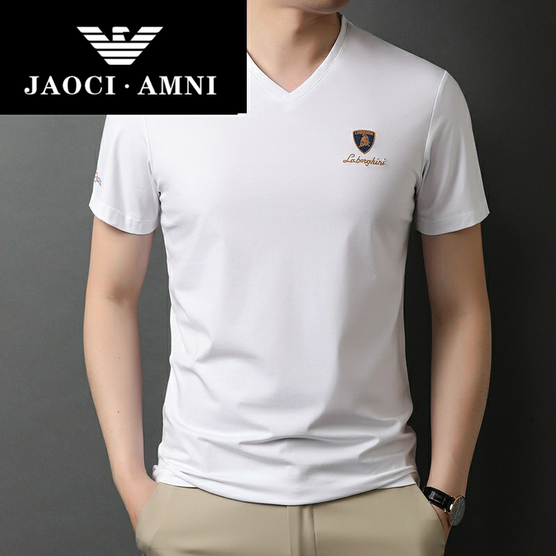 Qiaozhi Armani companys authentic new summer mens V-neck short sleeve T-shirt, casual summer wear, chicken heart collar, pure cotton
