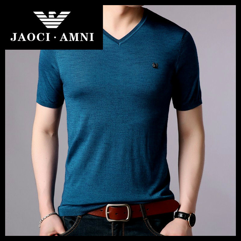 Qiaozhi Armani companys authentic summer ice silk short sleeve t-shirt mens V-neck Top Mens shirt mature and stable in middle age