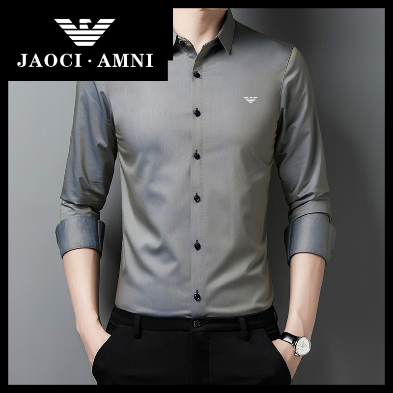 Qiaozhi Armani companys authentic Long Sleeve Shirt Mens ice silk solid color inch clothes mens business leisure Korean seamless mens clothing