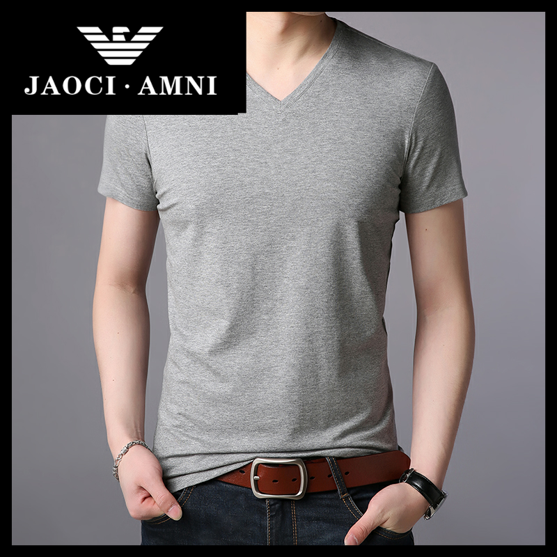 Qiaozhi Armani companys authentic brand luxury ice silk t-shirt mens short sleeve V-neck summer leisure solid color cool