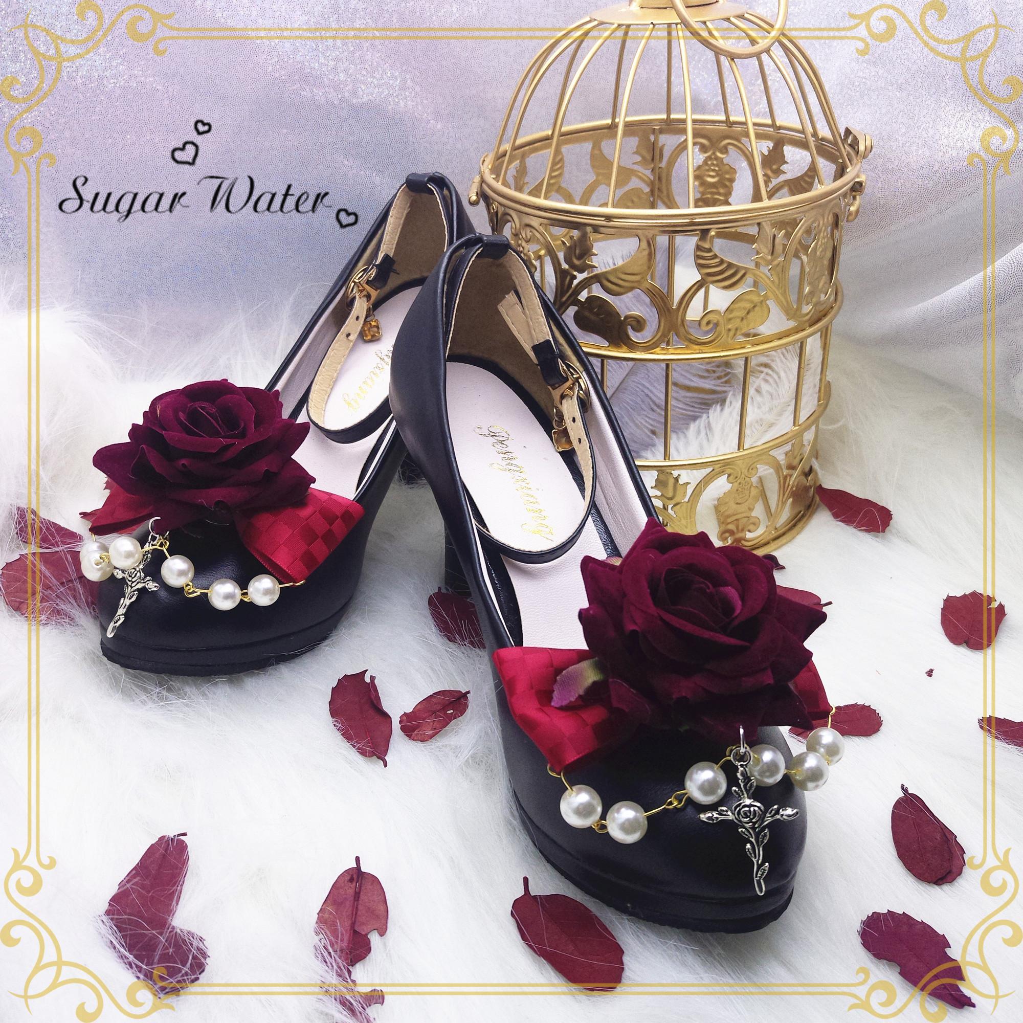 【水】lolita玫瑰十字珠链蝴蝶结鞋夹鞋扣鞋花