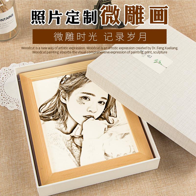 抖音创意圣诞节生日礼物送女生男生闺蜜diy惊喜木刻画定制照片