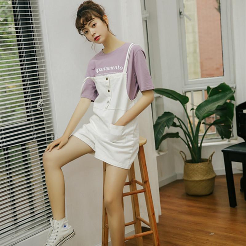 背带裤女2018新品韩版宽松牛仔背带短裤高腰简约大码学生连体裤女
