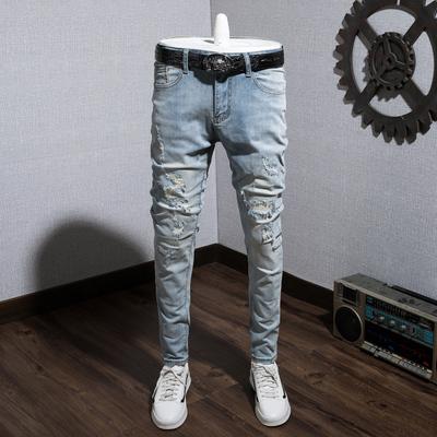 夏秋薄款破洞补丁弹力水洗浅蓝男士牛仔裤弹力修身日系复古长裤子