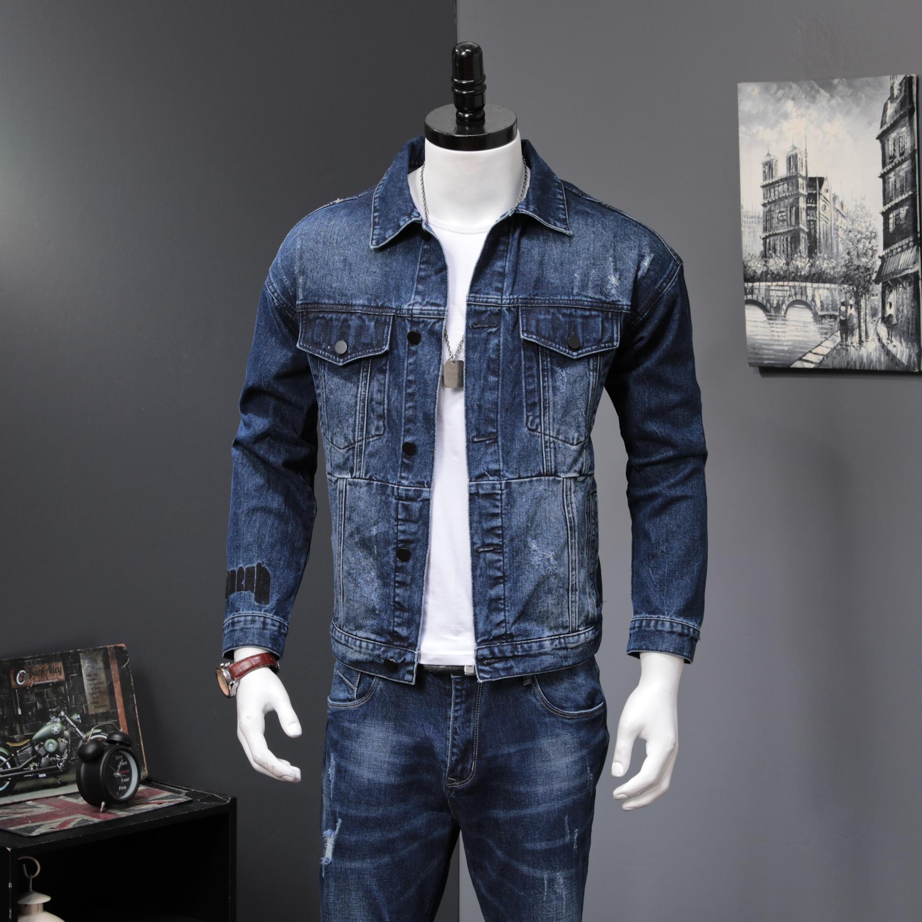 牛仔套装男潮流韩版帅气牛仔两件套一套衣服休闲潮流上衣夹克裤子(非品牌)