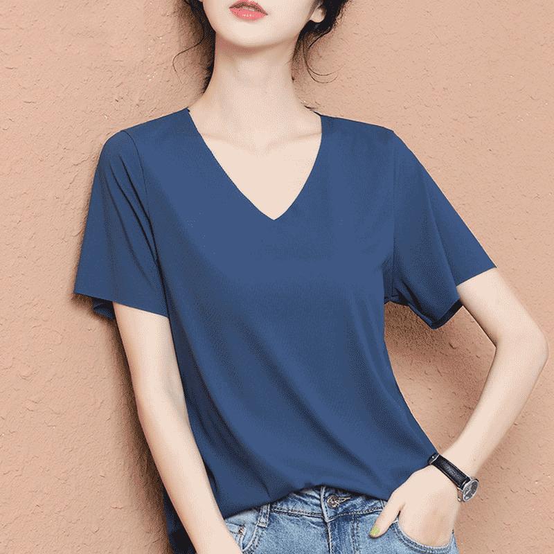 新款冰丝短袖t恤夏季纯色女2020