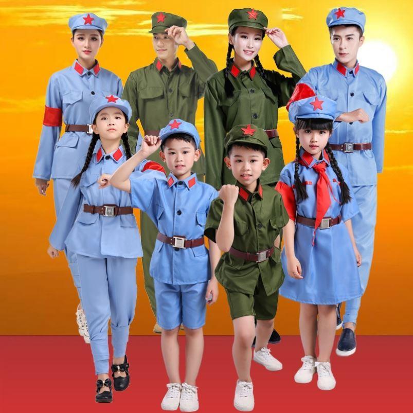 表演服八路军小军装红歌比赛儿童小红军演出服红卫兵