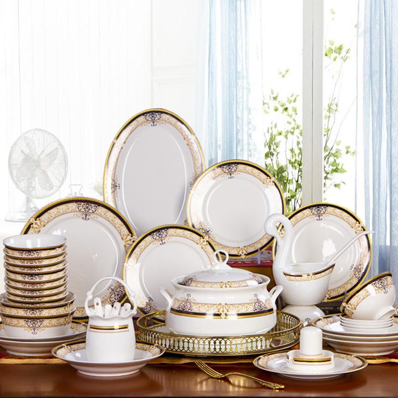 碗碟套装 家用 欧式 现代 网红瓷器乔迁送礼陶瓷吃饭套碗骨瓷餐具