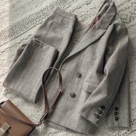 韩版2020春秋冬羊毛呢西装套装女宽松休闲气质复古呢子西服两件套