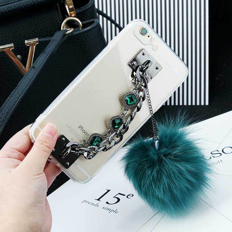 韩国创意獭兔毛球手机链挂件phone7 毛绒球防摔款手工制做配件