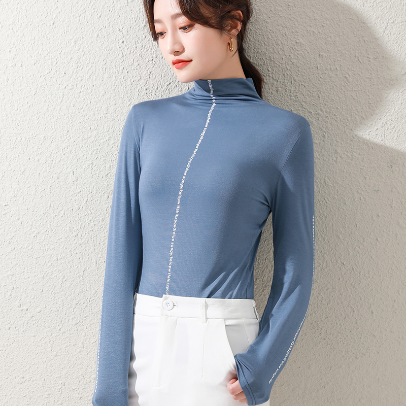 Modals half high collar base shirt with western style inside