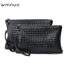 Fashion men's handbag hand bag leather woven men's handbag soft leather envelope bag business casual leather hand bag men