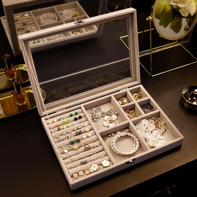 Jewelry storage box earrings earrings bracelets hand jewelry simple flannelette dustproof Necklace European small luxury finishing box