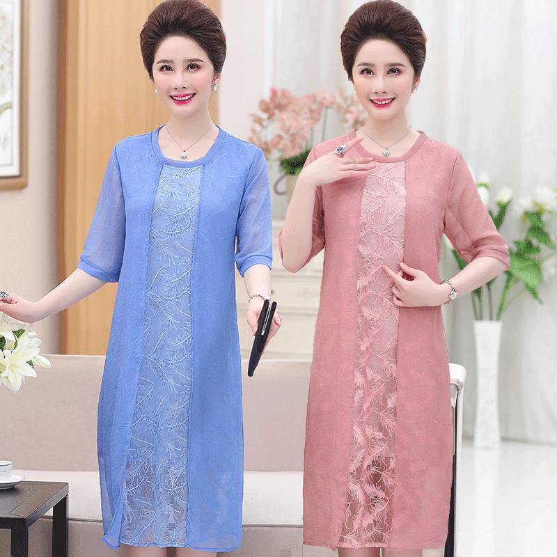 2018新款中年妈妈夏装连衣裙中老年女装假两件套裙短袖雪纺裙子薄