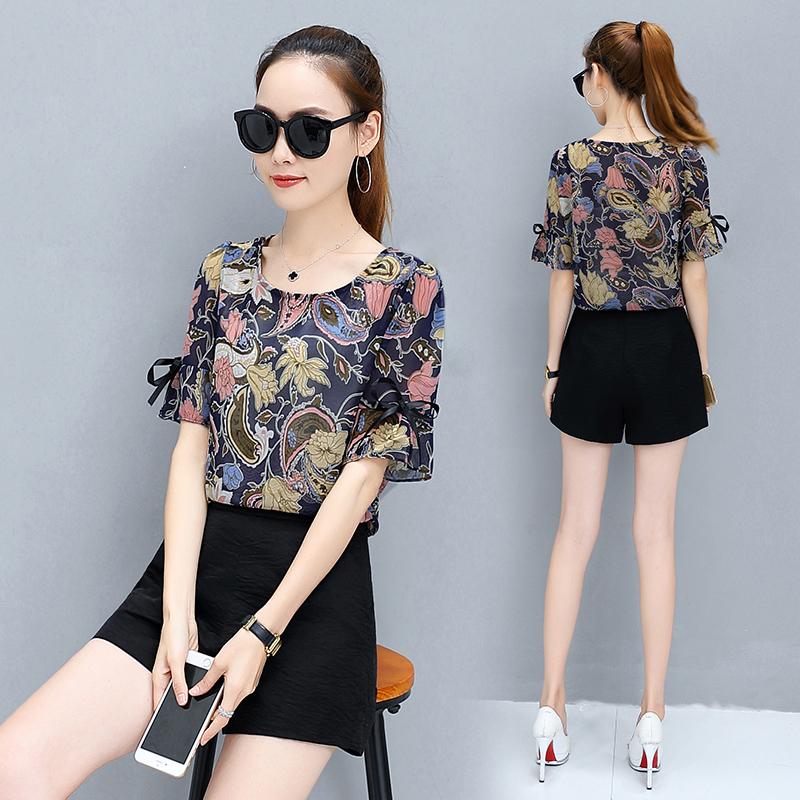 Шифон рубашка женщина 2017 летний костюм новый короткий рукав облегающий, южнокорейская версия дикий большой двор круглый вырез кривляние цветочный маленькая рубашка волна