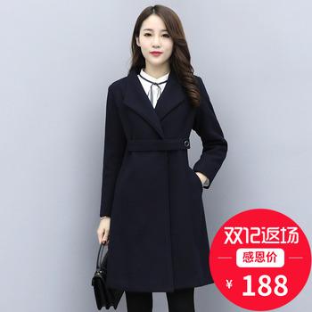 职业装毛呢外套女中长款呢子大衣冬季黑色加棉加厚妮子工装工作服