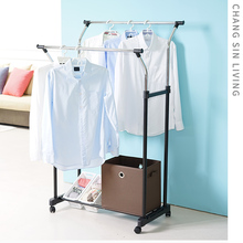 Double pole floor hanger indoor lifting drying rack hanging hanger drying rack imported from South Korea with adjustable wheels
