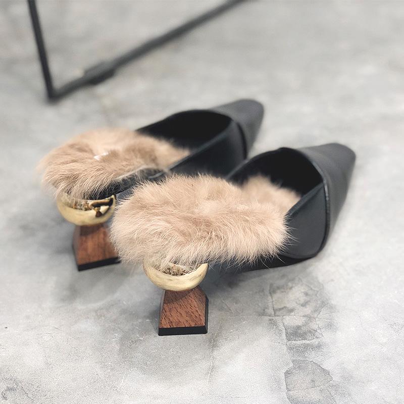 粗跟毛毛拖鞋女外穿2019秋冬新款包头半拖鞋一脚蹬网红高跟穆勒鞋