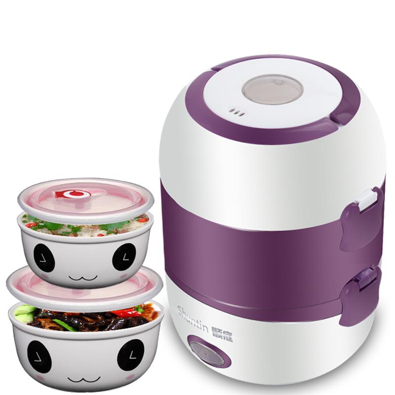 順庭電熱飯盒雙層陶瓷 加熱保溫飯盒可插電 大容量蒸煮迷你電飯鍋