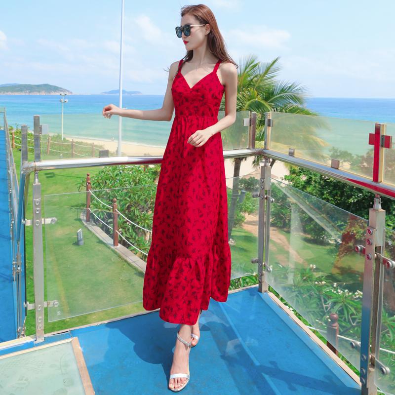 雪纺连衣裙女夏2021新款三亚海边度假沙滩裙法式显瘦气质吊带长裙