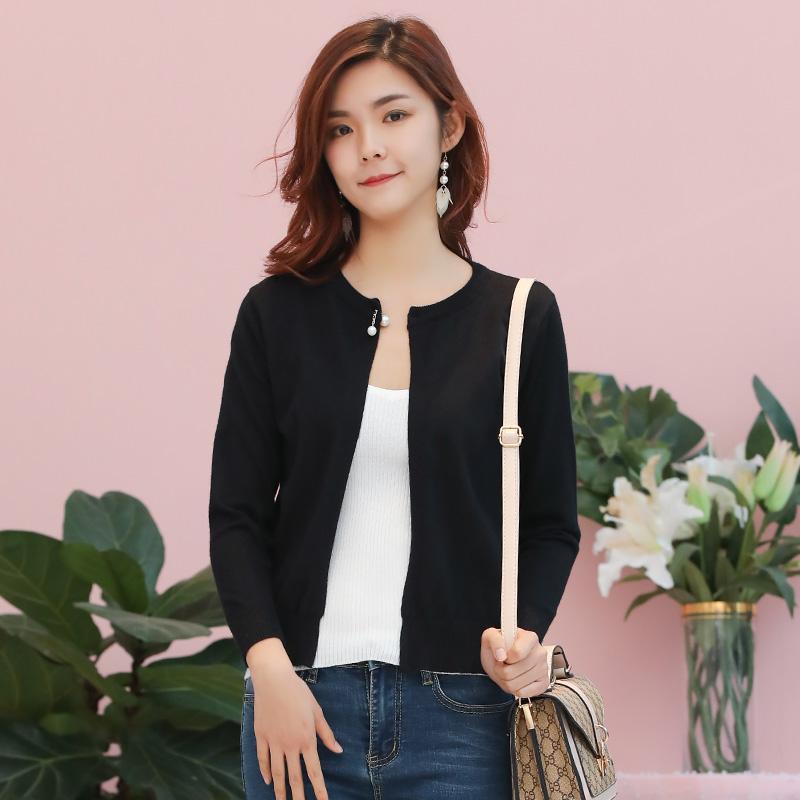 外搭开衫女薄款外套针织潮流韩版洋气外穿长袖短款上衣春秋季毛衣