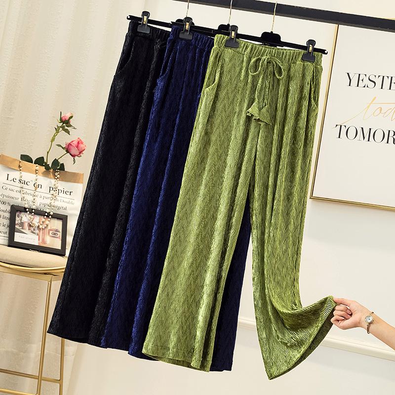实拍胖妹妹大码女装秋季新款洋气宽松显瘦阔腿裤时尚纯色九分裤子