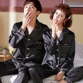 大码 宽松情侣家居服夏冰丝男套装 新款 韩版 丝质丝绸睡衣女春秋长袖
