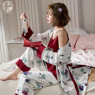 睡衣女秋冬纯棉家居服可外穿全棉性感夏季 吊带睡袍三件套装 春秋季