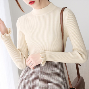 High necked sweater bottoming shirt, lady's lotus leaf sleeves