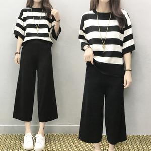 阔腿裤套装女洋气2019夏装新款大码冰丝针织显瘦女神范两件套裤潮