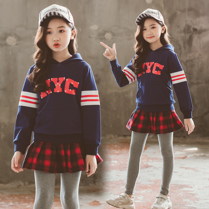 女童秋装套装2018新款韩版时尚潮衣中大童时髦洋气卫衣裙裤两件套
