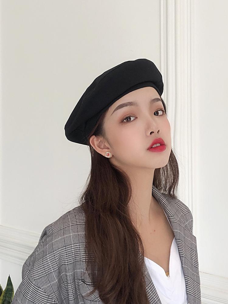 四季可戴日系纯色棉布立体贝雷帽南瓜帽女韩版简约复古时尚蓓蕾帽
