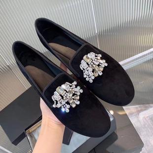 高制2020春秋新款深口圆头小香风黑色平底单鞋 水钻平跟乐福鞋女