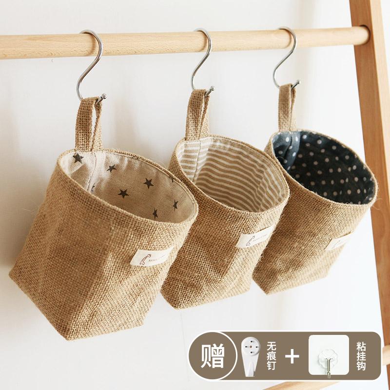 日式棉麻收纳袋挂袋墙挂式门后小挂兜布艺储物整理袋宿舍储物袋 Изображение 1