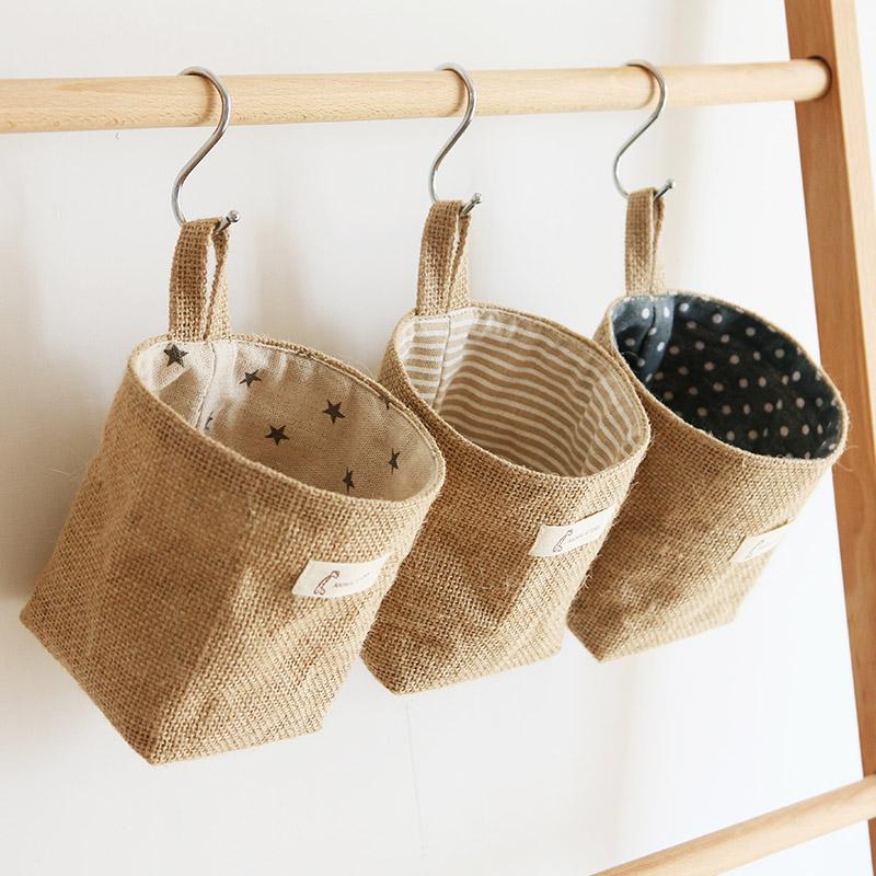 日式棉麻收纳袋挂袋墙挂式门后小挂兜布艺储物整理袋宿舍储物袋