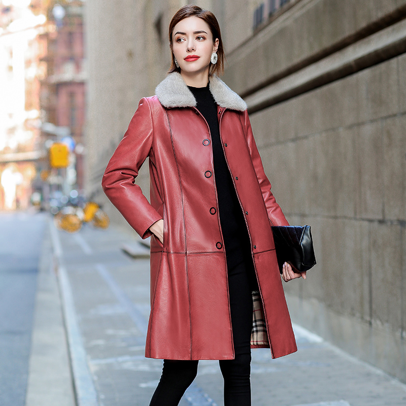 Sheep skin down jacket women's mid-length 2020 new Haining fur leather jacket with detachable mink collar