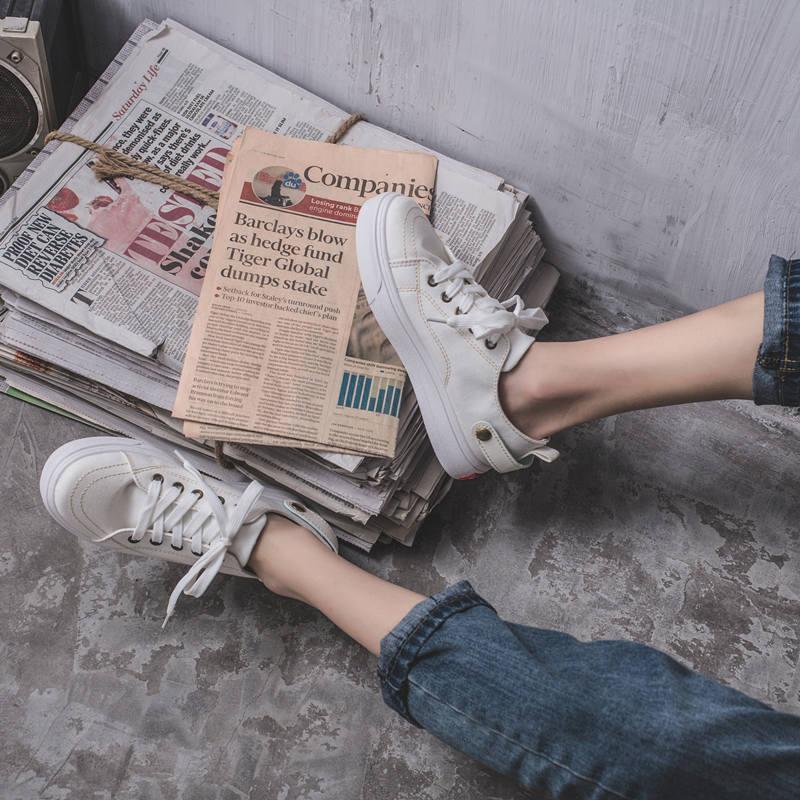 2019新款韩版夏款夏季百搭潮鞋懒人一脚蹬平底小白鞋女鞋子帆布鞋