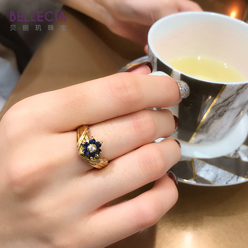 Bellecia / bellecia natural color sapphire ring female K gold diamond ring